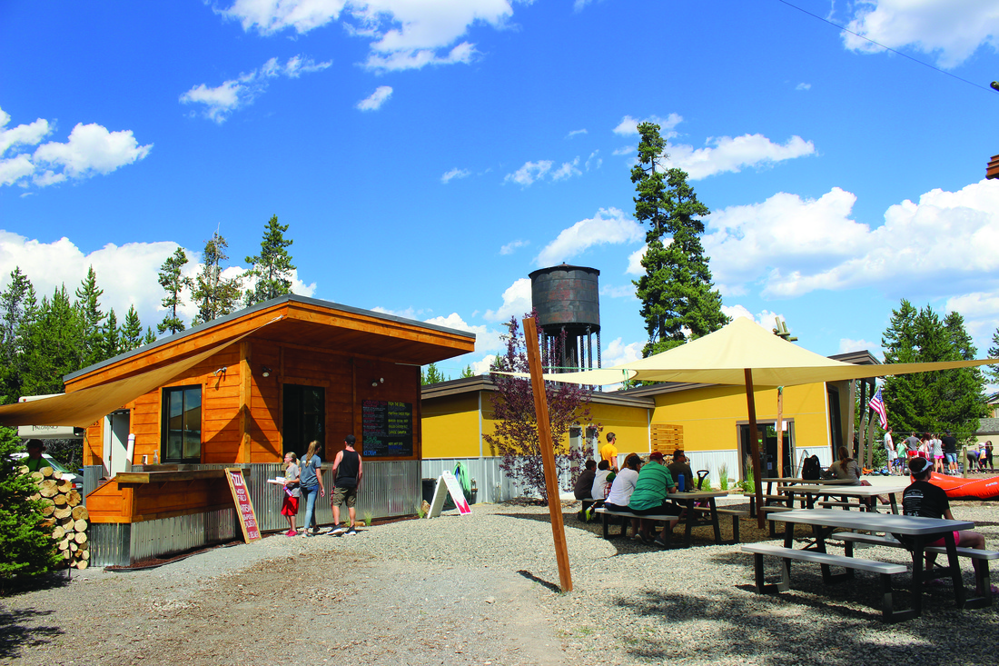 Caldera Pizza Grill - Brick Oven and Seating area at Yellowstone Aerial Adventures